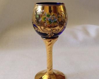 Vintage Cobalt Blue Cordial Glass
