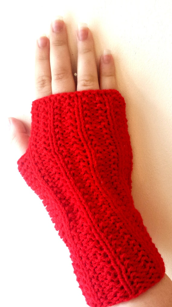 Fingerless gloves, Hand Knit mitts, mittens, wrist warmers in  red color - Hand knitted Mittens