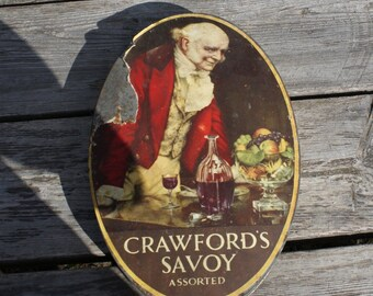 Rare antique tin box, Crawford's Savoy Assorted Biscuits, 1930's, Great Britain