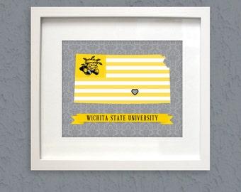 Wichita state shockers wichita ks logo flag print for T shirt printing wichita ks