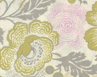 Midwest Modern 2 by Amy Butler-- Fresh Poppies-- Cream/Gray/Pink/Green Fabric-- By the yard-- AB32