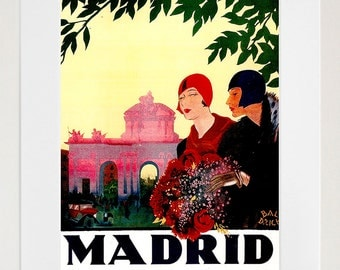 Madrid Travel Poster Spain Art Print Spanish Vintage Home Decor (ZT214)