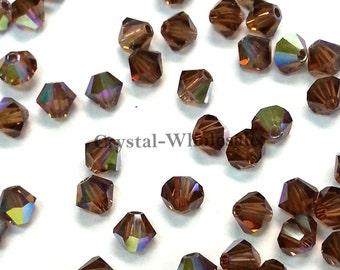 Smoked Topaz AB (220 AB) Swarovski 5328 / 5301 6mm Crystal Xilion Bicone Beads ** FREE Shipping