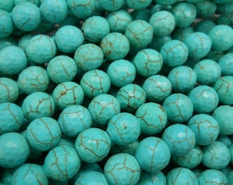 10mm turquoise faceted beads 15.5 inch