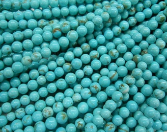 "4mm turquoise round beads 15.5"" long"