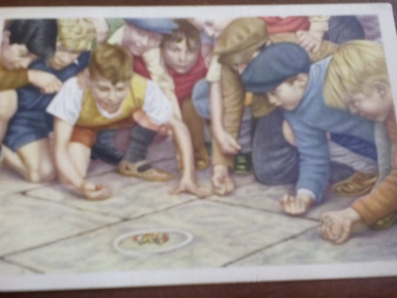 Vintage Advertising Trade Card Boys Shooting Marbles Folklore