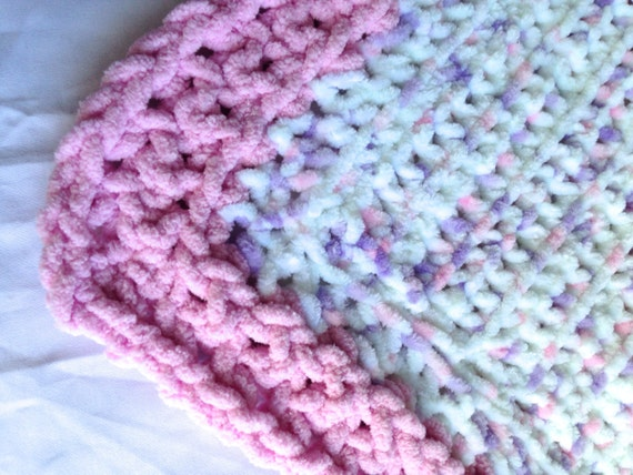 Baby Blanket Super Soft and Fuzzy White with Pink Trim