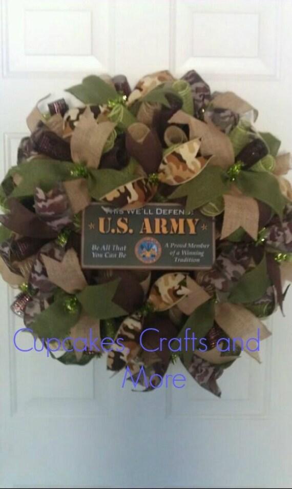 U S Army Wreath Army Wreath Camo Army Wreath Deco Mesh