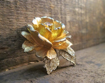 vintage two tone gold and silver rose with clear rhinestone brooch