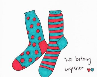 Quirky illustrated blank greeting card - We belong together like a pair of socks! - Perfect for Lovers!