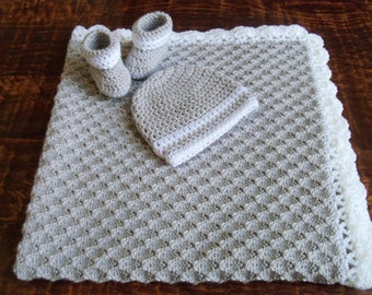 Knit/Crochet Personalized Baby Boy Blanket, Hat and Booties (33x33, light gray and white, acrylic)