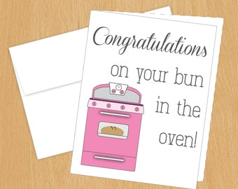 Congratulations on your Bun in the Oven Card - Funny Cards - A2