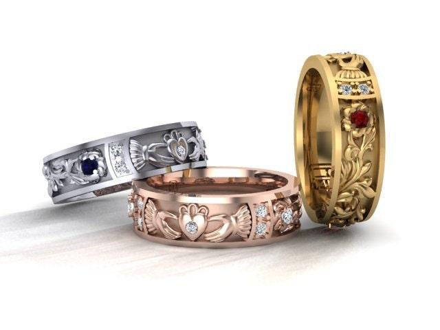 claddagh ring 14k solid gold floral ring rose white or. Black Bedroom Furniture Sets. Home Design Ideas