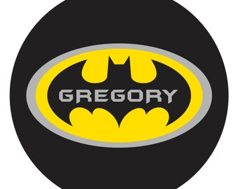 PERSONALIZED BATMAN PLATE, Black, Yellow, and Gray, Melamine Plate or Bowl, Custom Plate