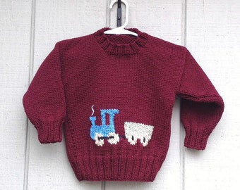 Baby boy train sweater - 6 to 12 months - Infant maroon train pullover - Baby shower gift - Train motif sweater - Baby boy knitwear