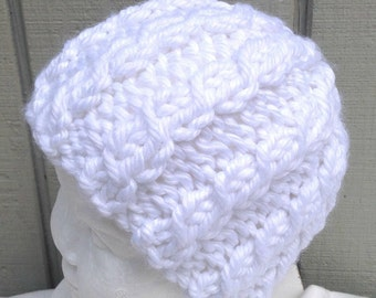 Girls knit white hat - Chunky knit beanie - Kids knit hats - Girls accessories