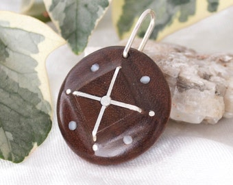 round shaped walnut wood pendant,inlaid silver cross,silver/mother of pearl decoration,silver hanger,3x3x0.9cm (1 3/16 x 1 3/16 x 3/8 in.)