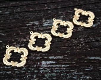 Raw Brass Quatrefoil Pendants, 4pcs