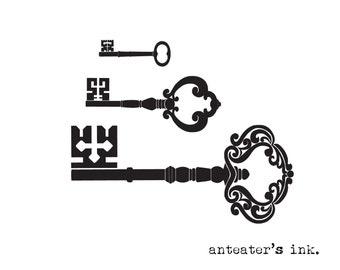 Vintage Key Temporary Tattoo Set of Three