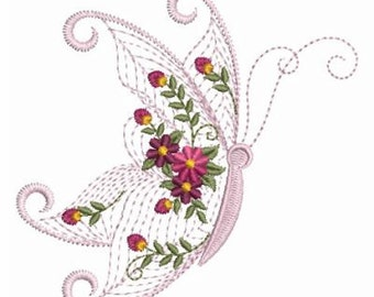 Rippled Flower Butterfly Machine Embroidery Design Instant Download 4x4 5x5 6x6 hoop