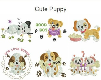 Cute Puppy Dog Animal Machine Embroidery Designs Instant Download 4x4 hoop 12 designs