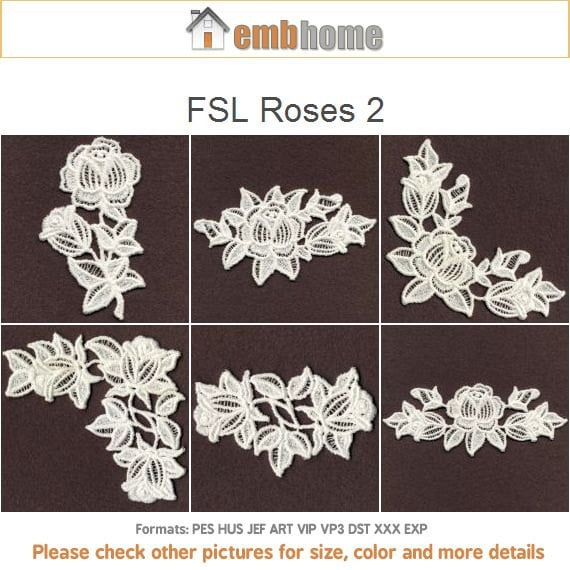 Fsl roses flowers free standing lace machine embroidery