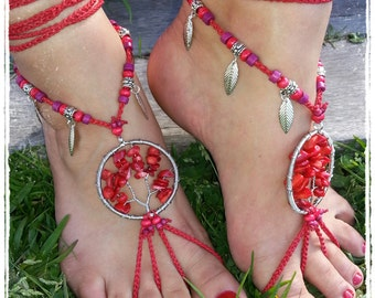 Tree of Life Barefoot Sandals. Coral. Barefoot wedding. Belly dance. Festival feet.