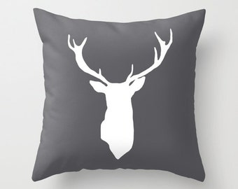 Deer Antlers Pillow  - Deer Cushion  - Dark Grey - Rustic Modern Decor - Accent Pillow - Decorative Pillow - By Aldari Home