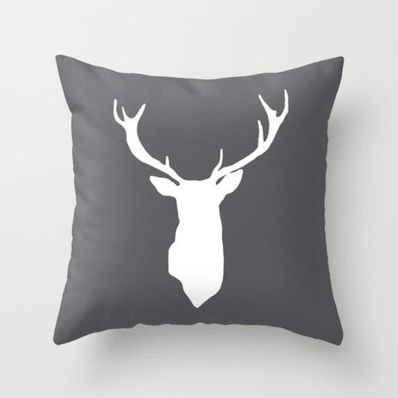 Deer Antlers Pillow Cover Deer Cushion Cover Dark Grey