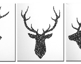 Deer Head Set Original Painting On Canvas In 3 Pieces