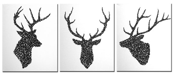 t te de cerf set original peinture sur toile en par matrixartbydv. Black Bedroom Furniture Sets. Home Design Ideas