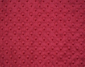Crimson Cuddle Minky Dot Fabric  (Shannon Fabrics) Dark Red choose your length