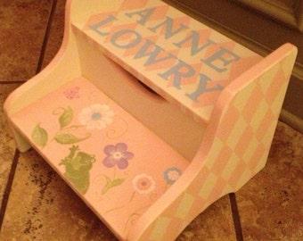 Hand Painted Step Stool- Custom Children's Furniture