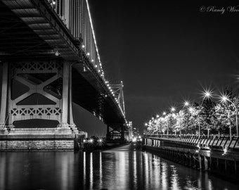 A Beautiful Summer night on Race St. Pier -  Philadelphia Photography-  Black and White -  Ben Franklin Bridge-  Fine Art Print -  Wall Art