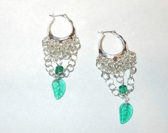 Czech Glass Leaf Earrings