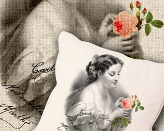VINTAGE LADY  Two Digital Sheets Printable Images to print on fabric / paper, Iron On Transfer for tote bags t-shirts pillows