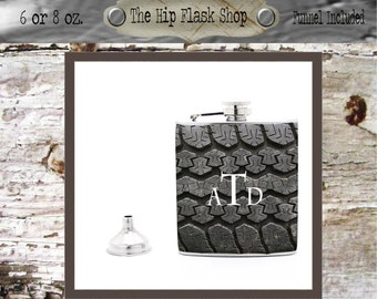 Tire Tread Monogram Flask  21st Birthday Gift Bridal Party Groomsman Bridesmaid Liquor Flask Funnel Custom