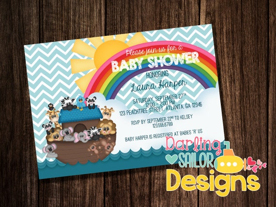 noah 39 s ark baby shower invitation printable party invitation 5x7