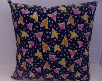 16 inch square 100% cotton floral pillow with zipper closure