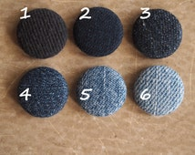 Reduce, reuse, recycle denim fabric covered buttons (size 60, 40, 32, 20, or 18)