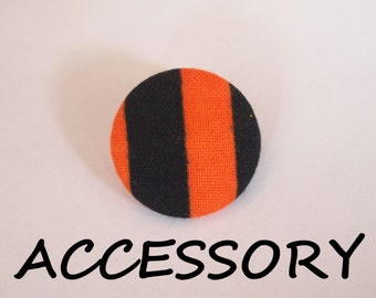 Halloween orange and black striped fabric covered buttons (adjustable ring, earrings, shoe clips, and brooch)