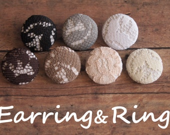 Neutral lace fabric covered button earrings, fabric covered button clip on earrings, fabric covered button ring