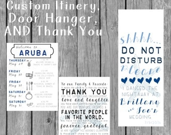 Destination Wedding Welcome Bag Guest Itinerary / Thank You Note AND Door Hanger!