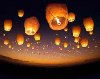 Made in USA Eco Earth Friendly Flying No wire bamboo frame Biodegradable/Wedding  Wish lantern/Memorial lantern/sky lantern (Pack of 5 )