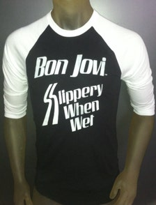 Bon jovi t shirt new vintage style concert tour jersey jon for Slippery when wet tattoo