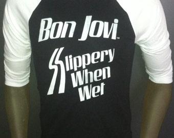 Bon Jovi t-shirt new vintage style concert tour jersey jon slippery when wet made in usa
