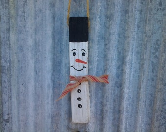 Tobacco Stick Handpainted Snowman Ornament