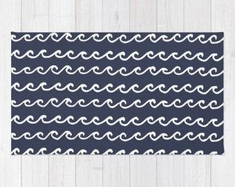 Nautical Navy Blue Area Rug Ocean Waves Modern Rug 2x3