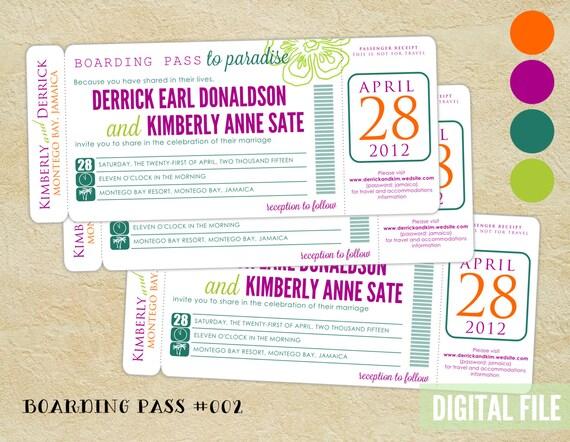 Modern BOARDING PASS wedding invitation ~ Tropical invite ~ Digital File