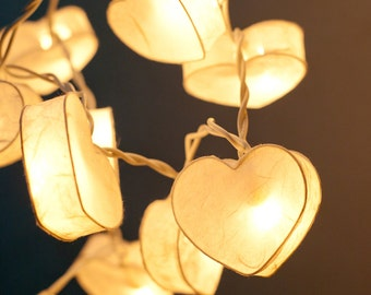 20 Battery Powered LED Romantic White Heart Paper Lantern String Lights for Party Wedding and Decorations